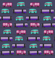cute pattern wit color buses in the night vector image vector image