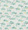 Cute seamless pattern with birds and clouds vector image