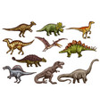 dinosaur and prehistoric reptile animal sketches vector image vector image