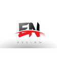 en e n brush logo letters with red and black vector image