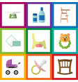flat icon baby set of toilet stroller infant cot vector image vector image