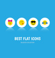 flat icon expression set of caress delicious food vector image vector image