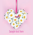 flower bouquet floral heart frame flourish summer vector image vector image
