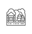 forest house and nature landscape line icon vector image vector image