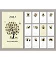 Funny bees calendar 2017 design vector image vector image