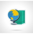 Globe and books flat color icon vector image
