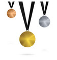 gold bronze silver medal set template isolated vector image