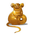 golden figure of mouse chinese horoscope symbol vector image