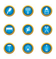 grill grid icons set flat style vector image vector image