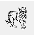 Hand-drawn pencil graphics tiger head Engraving vector image vector image