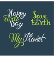 happy earth day hand lettering poster for earth vector image