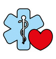 heart cardio with medical symbol vector image vector image