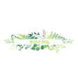 horizontal banner - green leaves flowers branches vector image vector image