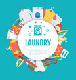 Laundry service poster design Icons circle label vector image