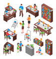 library isometric set vector image vector image