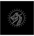 line art sunlight with chinese dragon snake vector image