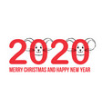 new year greeting card with numbers and cute vector image vector image