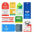 passport and luggage tags color set vector image vector image
