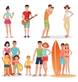 People and couples on vacation beach party vector image vector image