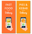 pies kebab and fast food delivery flyers vector image vector image