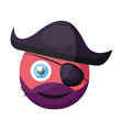 pirate pink round emoji with eye patch and pirate vector image vector image