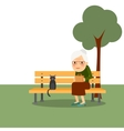 Retirement old woman in park vector image