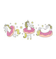 Set funny unicorn in donuts cartoon style cute
