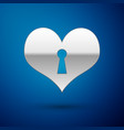 silver heart with keyhole icon isolated on blue vector image