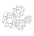 teamwork concept hand drawn cog and gear sketch vector image vector image