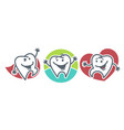 teeth with happy facial expressions and small vector image vector image