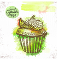 Watercolor sweet cupcake vector image vector image