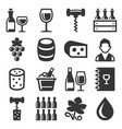 wine icons set on white background vector image vector image