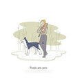 woman walking with border collie dog vector image