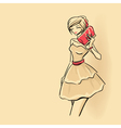 Woman with clutch vector image vector image