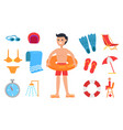 young man surrounded with swimming equipment icon vector image vector image