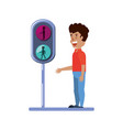 young man with traffic light pedestrian vector image vector image