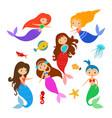 cute little cartoon mermaids and sea animal set vector image