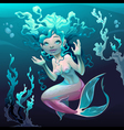 Young mermaid in the sea vector image