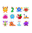 funny fantasy monster collection vector image