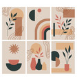boho abstract cards modern simple shapes vector image