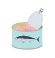 canned tuna marine seafood in metal tin vector image vector image