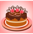 chocolate cake with hearts and roses vector image vector image