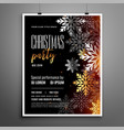 christmas party flyer with silver snowflakes vector image