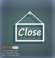 close icon sign On the blue-green abstract vector image