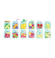 collection infused water with mixed fresh vector image