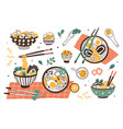 collection ramen in bowls and chopsticks set vector image