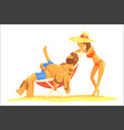 cute cartoon family on beach fathermotherson vector image vector image
