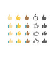 different style web application icon thumbs up set vector image vector image