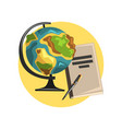education icon globe book and pointer symbols vector image vector image