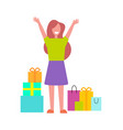 excited buyer with many bags vector image vector image